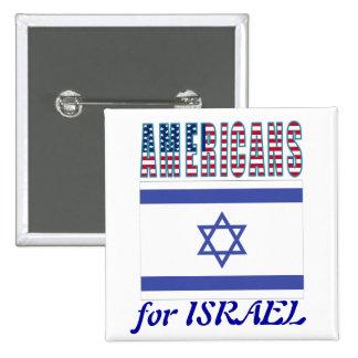 Americanos para el botón de Israel Pin Cuadrado