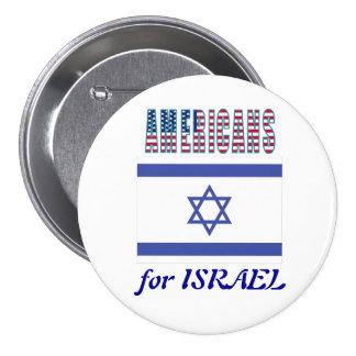 Americanos para el botón de Israel Pin Redondo De 3 Pulgadas