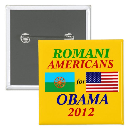 Americanos Romani para Obama Pin Cuadrado