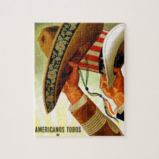 Americanos Todos Bicultural WWII Poster Jigsaw Puzzle
