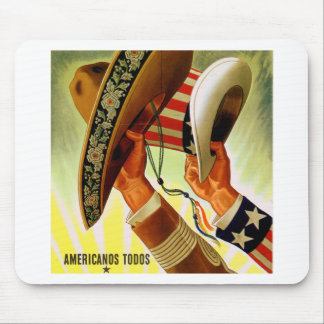 Americanos Todos Bicultural WWII Poster Mouse Pad