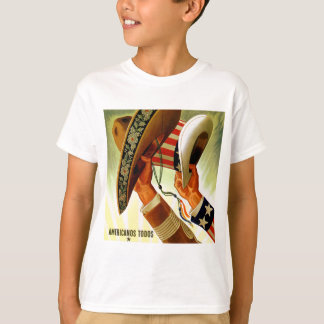 Americanos Todos Bicultural WWII Poster T-Shirt