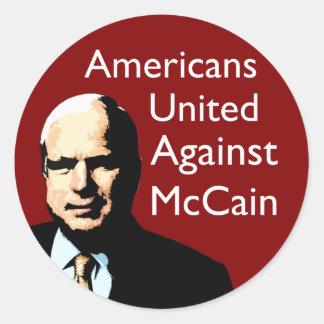 Americanos unidos contra McCain Pegatina Redonda