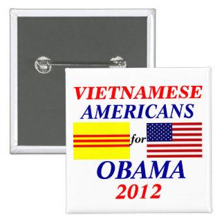 americanos vietnamitas para Obama Pin Cuadrada 5 Cm