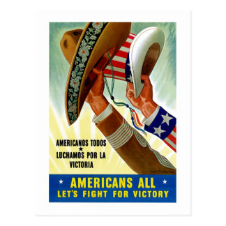 Americans All Let s Fight for Victory Post Card