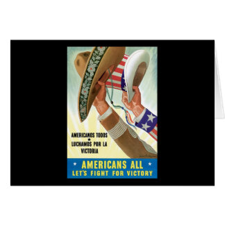 Americans All Let's Fight For Victory Card