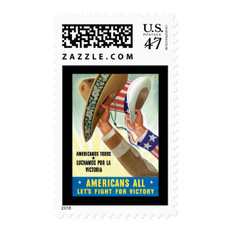 Americans All Let's Fight For Victory Postage Stamp