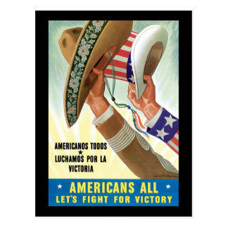 Americans All Let's Fight For Victory Postcard