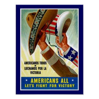 Americans All ~ Let's Fight for Victory Poster