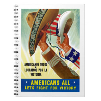 Americans All ~ Let's Fight for Victory Spiral Notebook