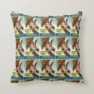 Americans All ~ Let's Fight for Victory Throw Pillow