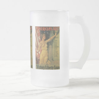 Americans All World War II Frosted Glass Beer Mug