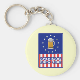 Americans Brew True Basic Round Button Keychain