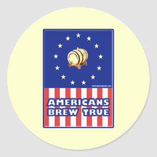 Americans Brew True Wine Classic Round Sticker
