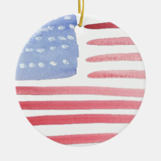 Americans USA Flag Double-Sided Ceramic Round Christmas Ornament