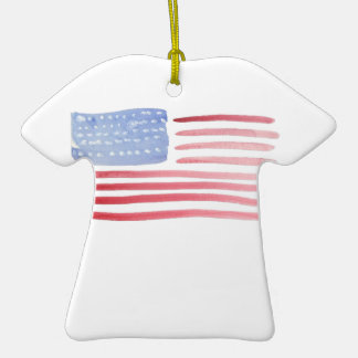 Americans USA Flag Double-Sided T-Shirt Ceramic Christmas Ornament