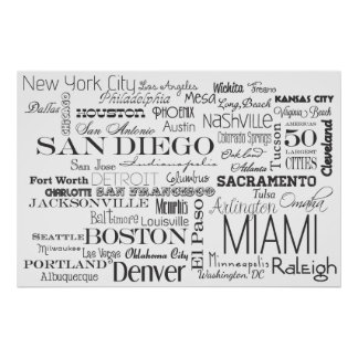 Americas 50 Largest Cities Poster