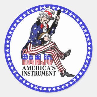 America's Banjo round sticker