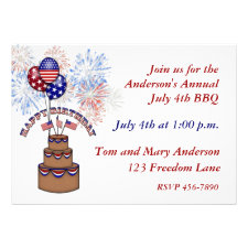 America's Birthday July 4th Invitation