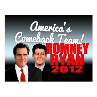 America's Comeback Team Postcard, Romney Ryan 2012