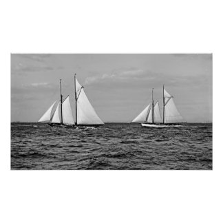 America's Cup Contenders Idler and Hildegarde 1901 Poster