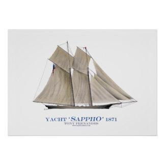 americas cup yacht 'sappho' 1871, tony fernandes poster