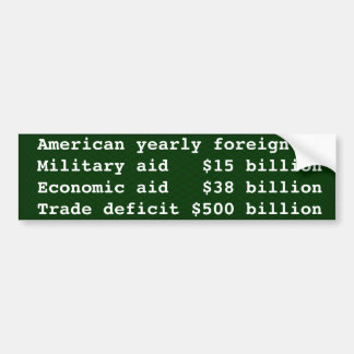 America's foreign aid is mostly our trade deficit car bumper sticker