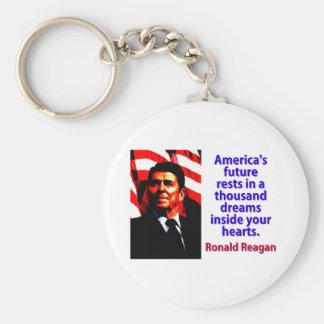 America's Future Rests  - Ronald Reagan Keychain