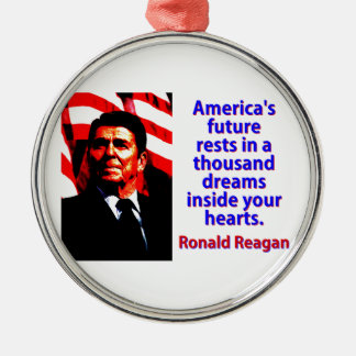 America's Future Rests  - Ronald Reagan Metal Ornament