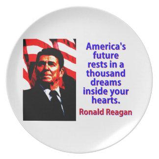 America's Future Rests  - Ronald Reagan Plate