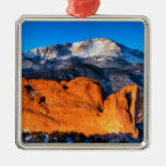 America's Mountain at Sunrise Square Metal Christmas Ornament