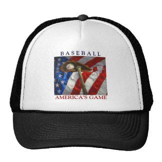 America's Pastime Baseball, glove, bat Trucker Hat