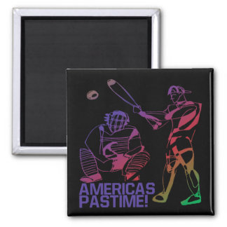 Americas Pastime 2 Inch Square Magnet