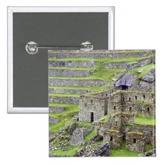 Americas, Peru, Machu PIcchu. The ancient 2 2 Inch Square Button