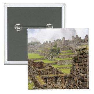 Americas, Peru, Machu PIcchu. The ancient 2 Inch Square Button