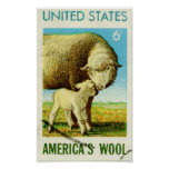 America's Wool Retro Sheep Poster