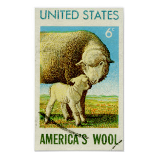 America's Wool Retro Sheep Poster