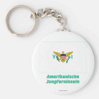 Amerikanische Jungferninseln Flagge mit Namen Basic Round Button Keychain