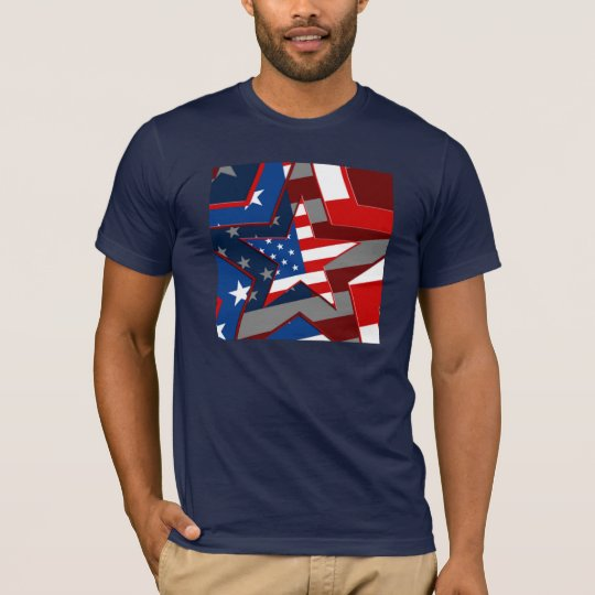 Amerrican Flag Star Pattern T-Shirt