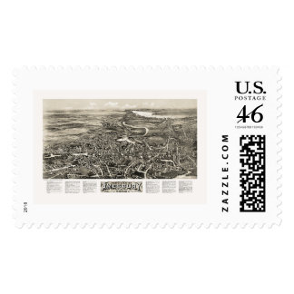 Amesbury MA Panoramic Map - 1914 Postage Stamps