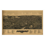 Amesbury Massachusetts 1890 Antique Panoramic Map Poster