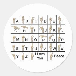 AmeslanAlphabet120710 Classic Round Sticker