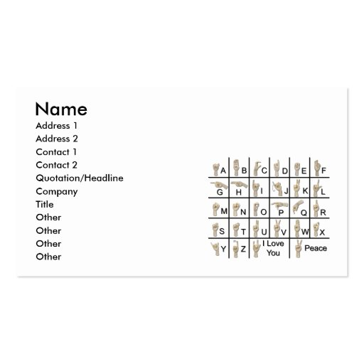 AmeslanAlphabet120710, Name, Address 1, Address... Business Card Templates