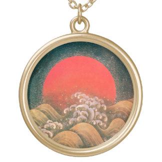 AMETERASU ,SUN GODDESS red brown black Gold Plated Necklace