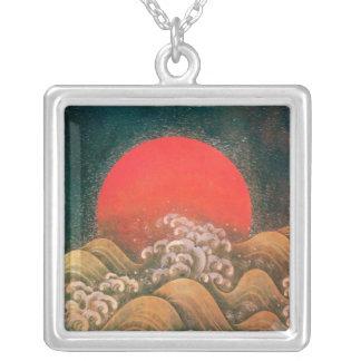 AMETERASU ,SUN GODDESS red brown black Silver Plated Necklace