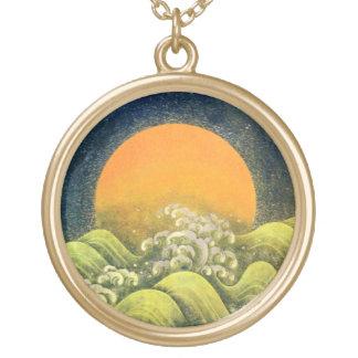 AMETERASU ,SUN GODDESS yellow green black Gold Plated Necklace