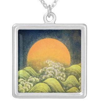 AMETERASU ,SUN GODDESS yellow green black Silver Plated Necklace