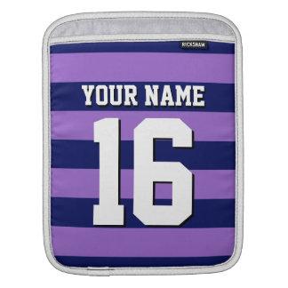 Ameth Purple Navy Blue Sports Jersey Preppy Stripe iPad Sleeve