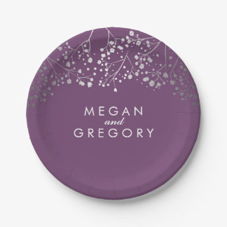 Amethyst and Silver Baby's Breath Wedding Paper Plate