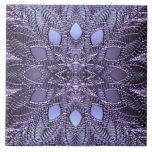 "Amethyst and Silver Tile<br><div class=""desc"">Ceramic Tile featuring a faux 3D glass lace design. Frame for a beautiful trivet!</div>"